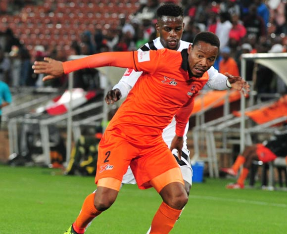 Thabiso Semenya of Polokwane City and Innocent Maela of Orlando Pirates during the Absa Premiership 2017/18 football match between Polokwane City and Orlando Pirates at Peter Mokaba Stadium, Limpopo on 30 September 2017 ©/BackpagePix
