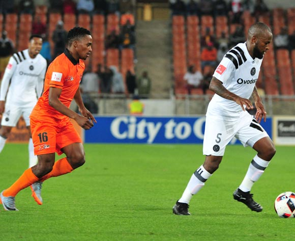 Mpho Makola of Orlando Pirates and Vusimusi Mngomezulu of Polokwane City during the Absa Premiership 2017/18 football match between Polokwane City and Orlando Pirates at Peter Mokaba Stadium, Limpopo on 30 September 2017 ©/BackpagePix