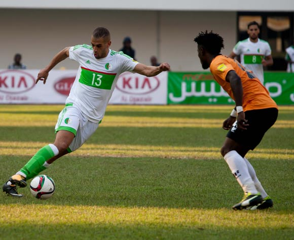 Algeria's Ghezzal Rachid fights for the ball against Zambia defender Ziyo Tembo during the 2018 FIFA World Cup Qualifier match between Zambia vs Algeria on September,2nd 2017 at National Heroes stadium,Lusaka in Zambia ©Sid Kalungar/Backpagepix