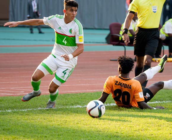Atal Youcef of Algeria leaves Fackson Kapumbu for dead during the 2018 FIFA World Cup Qualifier match between Zambia vs Algeria on September,2nd 2017 at National Heroes stadium,Lusaka in Zambia ©Sid Kalungar/Backpagepix