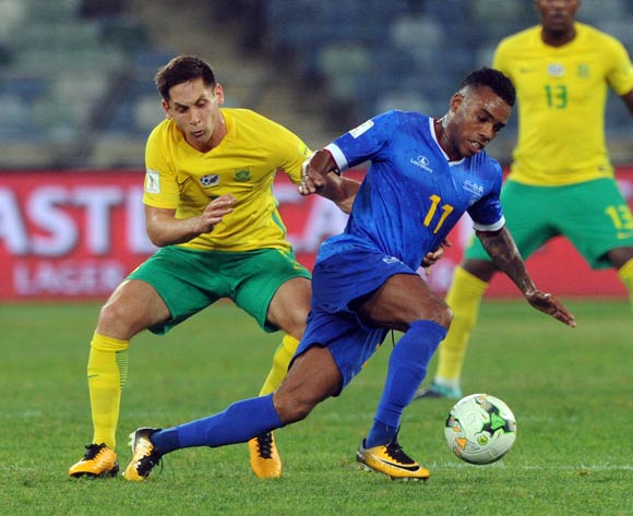 Dean Furman of South Africa challenges Garry Rodrigues of Cape Verde during the World Cup Qualifier match between South Africa and Cape Verde on the 05 September 2017 at Moses Mabhida Stadium  © Sydney Mahlangu /BackpagePix