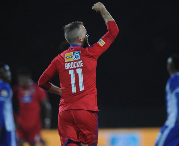 Jeremy Brockie of Supersport United celebrates a goal during the MTN8 Semi Final Second Leg match between Maritzburg United and Supersport United  on the 09 September 2017 at Harry Gwala Stadium  © Sydney Mahlangu /BackpagePix
