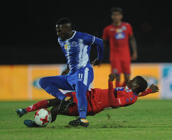 Tebogo Mokoena of Supersport United challenges Fortune Makaringe of Maritzburg United during the MTN8 Semi Final Second Leg match between Maritzburg United and Supersport United  on the 09 September 2017 at Harry Gwala Stadium  © Sydney Mahlangu /BackpagePix
