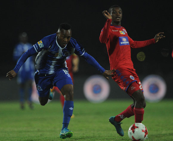 Lebohang Maboe of Maritzburg United is challenged by Teboho Mokoena of Supersport United during the MTN8 Semi Final Second Leg match between Maritzburg United and Supersport United  on the 09 September 2017 at Harry Gwala Stadium  © Sydney Mahlangu /BackpagePix