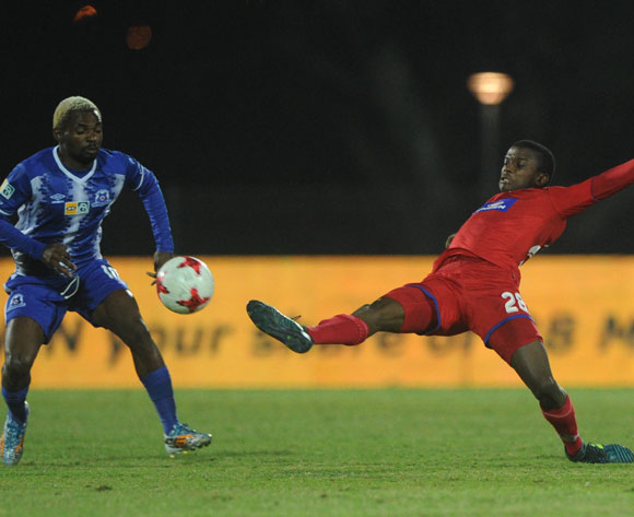 Yazid Atouba of Maritzburg United is challenged by Teboho Mokoena of Supersport United during the MTN8 Semi Final Second Leg match between Maritzburg United and Supersport United  on the 09 September 2017 at Harry Gwala Stadium  © Sydney Mahlangu /BackpagePix