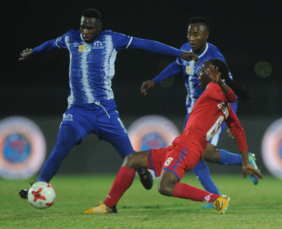 Reneilwe Letsholonyane of Supersport United challenges Fortune Makaringe of Maritzburg United during the MTN8 Semi Final Second Leg match between Maritzburg United and Supersport United  on the 09 September 2017 at Harry Gwala Stadium  © Sydney Mahlangu /BackpagePix