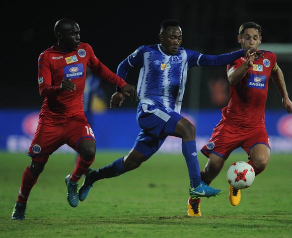 Lebohang Maboe of Maritzburg United is challenged by Aubrey Modiba (l) and Dean Furman of Supersport United  during the MTN8 Semi Final Second Leg match between Maritzburg United and Supersport United  on the 09 September 2017 at Harry Gwala Stadium  © Sydney Mahlangu /BackpagePix