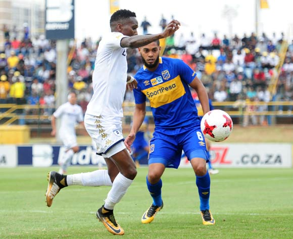 Elias Pelembe of Bidvest Wits challenged by Ebrahim Seedat of Cape Town City during 2017 MTN8 game between Bidvest Wits and Cape Town City at Bidvest Wits Stadium on 10 September 2017@Aubrey Kgakatsi/BackpagePix