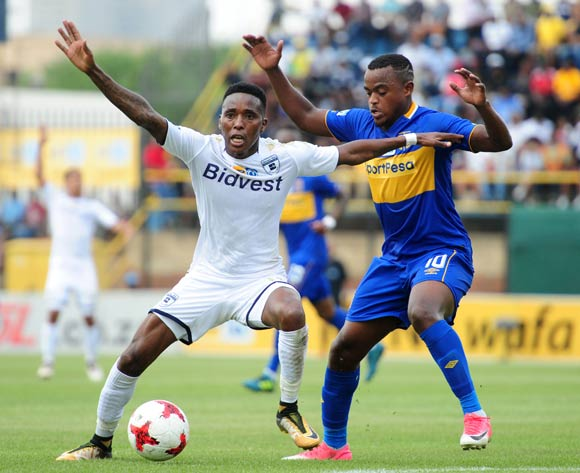 Elias Pelembe of Bidvest Wits challenged by Ayanda Patosi of Cape Town City during 2017 MTN8 game between Bidvest Wits and Cape Town City at Bidvest Wits Stadium on 10 September 2017@Aubrey Kgakatsi/BackpagePix