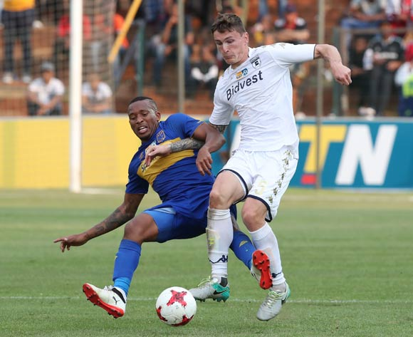Lehlohonolo Majoro of Cape Town City tackles Slavko Damjanovic of Bidvest Wits during the 2017 MTN8 semifinal football match between Bidvest Wits and Cape Town City at Bidvest Stadium, Johannesburg on 10 September 2017 ©Gavin Barker/BackpagePix