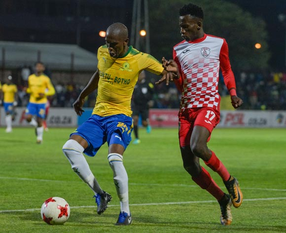 Anele Ngcongca of Mamelodi Sundowns and Sibusiso Hlubi of Free State Stars  during the Absa Premiership 2017/18 game between Free State Stars and Mamelodi Sundowns at Goble Park, Bethlehem on 11 September 2017 © Frikkie Kapp/BackpagePix