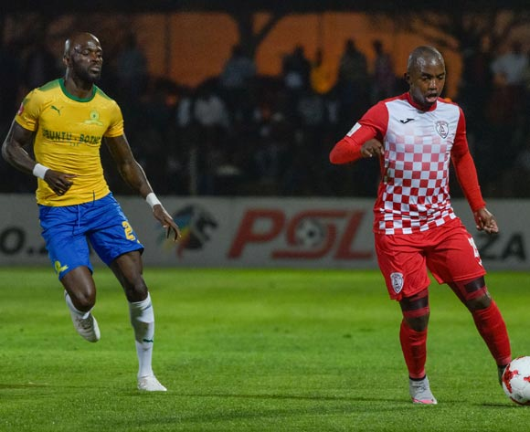 Patrick Phungwayo of Free State Stars and Anthony Laffor of Mamelodi Sundowns during the Absa Premiership 2017/18 game between Free State Stars and Mamelodi Sundowns at Goble Park, Bethlehem on 11 September 2017 © Frikkie Kapp/BackpagePix