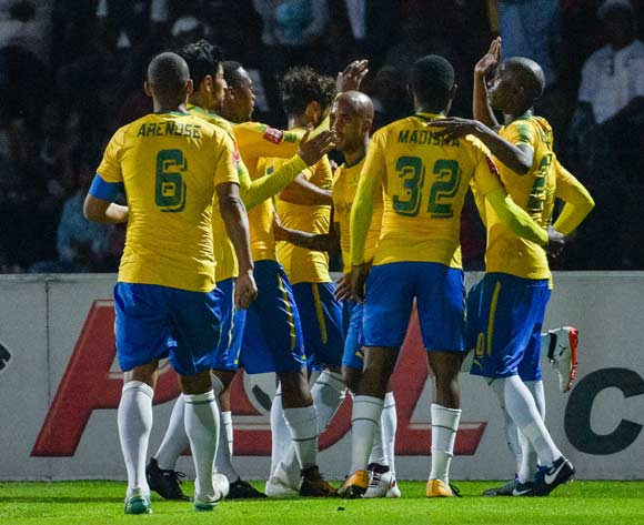 Mamelodi Sundowns celebrating their goal during the Absa Premiership 2017/18 game between Free State Stars and Mamelodi Sundowns at Goble Park, Bethlehem on 11 September 2017 © Frikkie Kapp/BackpagePix