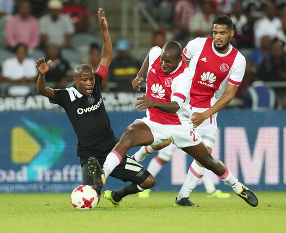 Thabo Matlaba of Orlando Pirates fouled by Thomas Chideu of Ajax Cape Town  during the 2017/18 Absa Premiership football match between Orlando Pirates and Ajax Cape Town at Orlando Stadium, Johannesburg on 12 September 2017 ©Gavin Barker/BackpagePix