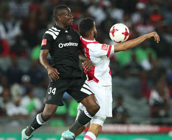 Tashreeq Morris of Ajax Cape Town shields ball from Ntsikelelo Nyauza of Orlando Pirates  during the 2017/18 Absa Premiership football match between Orlando Pirates and Ajax Cape Town at Orlando Stadium, Johannesburg on 12 September 2017 ©Gavin Barker/BackpagePix