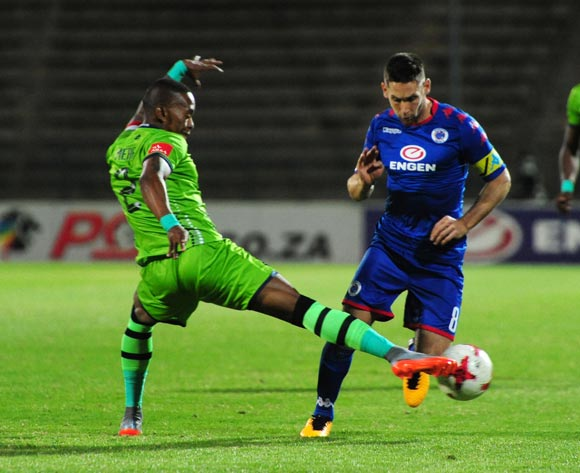 Dean Furman of Supersport United challenged by Vuyo Mere of Platinum Stars during 2017/18 Absa Premiership game between Supersport United and Platinum Stars at Lucas Moripe Stadium on 12 September 2017@Aubrey Kgakatsi/BackpagePix