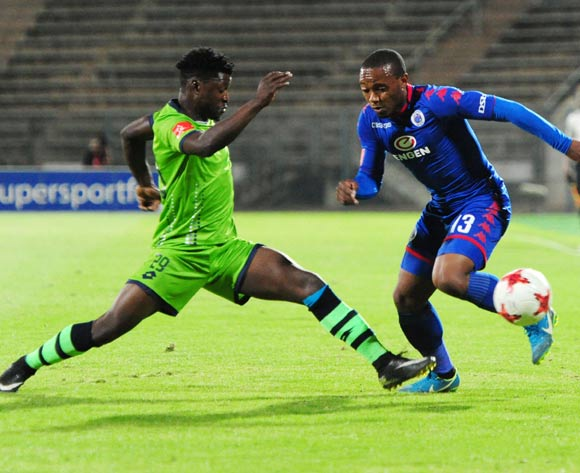 Michael Mabule of Platinum Stars challenges Thuso Phala of Supersport United during 2017/18 Absa Premiership game between Supersport United and Platinum Stars at Lucas Moripe Stadium on 12 September 2017@Aubrey Kgakatsi/BackpagePix