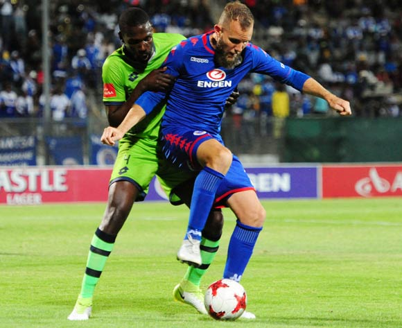 Willem Mwedihanga of Platinum Stars challenges Jeremy Brockie of Supersport United during 2017/18 Absa Premiership game between Supersport United and Platinum Stars at Lucas Moripe Stadium on 12 September 2017@Aubrey Kgakatsi/BackpagePix