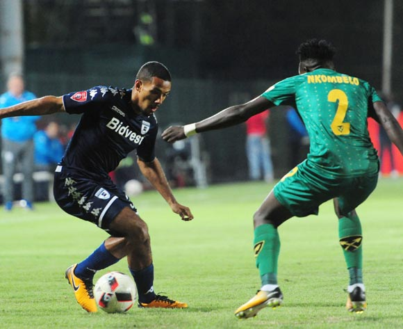 Reeve Fosler of Bidvest Wits challenged by Zolani Nkombelo of Golden Arrows during 2017/18 Absa Premiership game between Bidvest Wits and Golden Arrows at Bidvest Wits Stadium on 13 September 2017@Aubrey Kgakatsi/BackpagePix