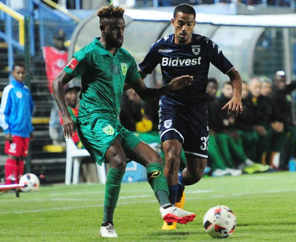 Reeve Fosler of Bidvest Wits challenged by Jabulani Shongwe of Golden Arrows during 2017/18 Absa Premiership game between Bidvest Wits and Golden Arrows at Bidvest Wits Stadium on 13 September 2017@Aubrey Kgakatsi/BackpagePix