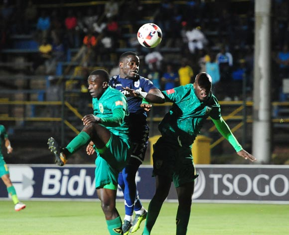 Gabadinho Mhango of Bidvest Wits challenged by Musa Bilankulu and Limbikani Mzava of Golden Arrows during 2017/18 Absa Premiership game between Bidvest Wits and Golden Arrows at Bidvest Wits Stadium on 13 September 2017@Aubrey Kgakatsi/BackpagePix
