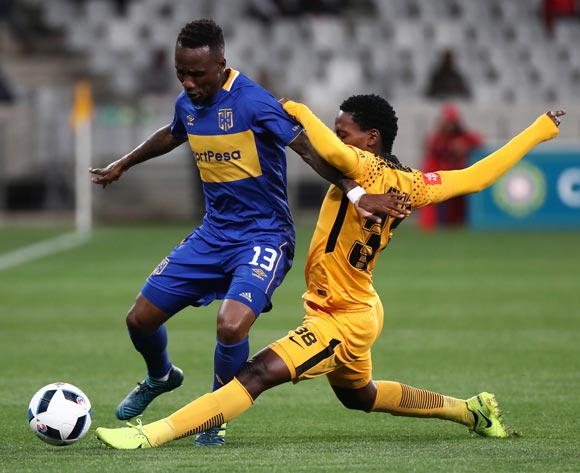 Teko Modise of Cape Town City tackled by Wiseman Meyiwa of Kaizer Chiefs during the Absa Premiership 2017/18 football match between Cape Town City FC and Kaizer Chiefs at Cape Town Stadium, Cape Town on 13 September 2017 ©Chris Ricco/BackpagePix