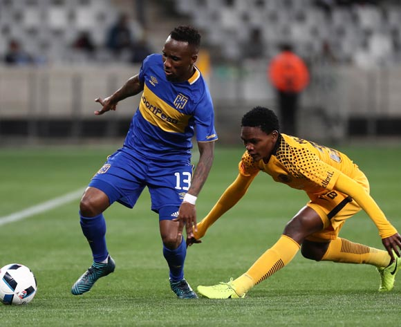 Teko Modise of Cape Town City evades challenge from  Wiseman Meyiwa of Kaizer Chiefs during the Absa Premiership 2017/18 football match between Cape Town City FC and Kaizer Chiefs at Cape Town Stadium, Cape Town on 13 September 2017 ©Chris Ricco/BackpagePix