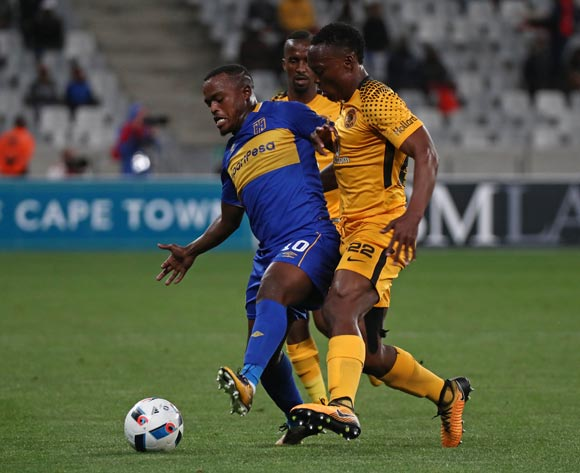 Ayanda Patosi of Cape Town City challenged by Philani Zulu of Kaizer Chiefs during the Absa Premiership 2017/18 football match between Cape Town City FC and Kaizer Chiefs at Cape Town Stadium, Cape Town on 13 September 2017 ©Chris Ricco/BackpagePix