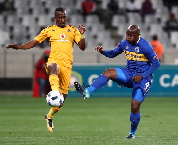 Bhongolwethu Jayiya of Kaizer Chiefs battles for the ball with Vincent Kobola of Cape Town City during the Absa Premiership 2017/18 football match between Cape Town City FC and Kaizer Chiefs at Cape Town Stadium, Cape Town on 13 September 2017 ©Chris Ricco/BackpagePix