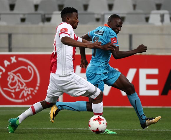 Rodney Ramagalela of Polokwane City evades challenge from Isaac Nhlapo of Ajax Cape Town during the Absa Premiership 2017/18 football match between Ajax Cape Town and Polokwane City at Cape Town Stadium, Cape Town on 15 September 2017 ©Chris Ricco/BackpagePix