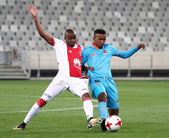 Nazeer Jacobs of Polokwane City challenged by Bantu Mzwakali of Ajax Cape Town during the Absa Premiership 2017/18 football match between Ajax Cape Town and Polokwane City at Cape Town Stadium, Cape Town on 15 September 2017 ©Chris Ricco/BackpagePix