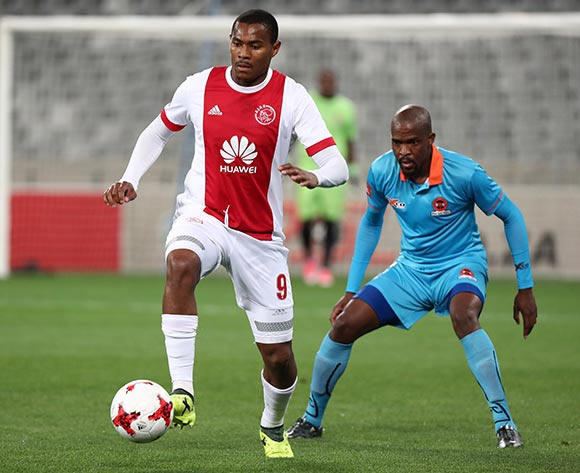 Prince Nxumalo of Ajax Cape Town challenged by Sibusiso Mbonani of Polokwane City during the Absa Premiership 2017/18 football match between Ajax Cape Town and Polokwane City at Cape Town Stadium, Cape Town on 15 September 2017 ©Chris Ricco/BackpagePix