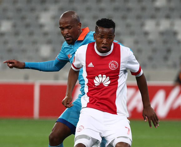 Thabo Mosadi of Ajax Cape Town tackled by Sibusiso Mbonani of Polokwane City during the Absa Premiership 2017/18 football match between Ajax Cape Town and Polokwane City at Cape Town Stadium, Cape Town on 15 September 2017 ©Chris Ricco/BackpagePix