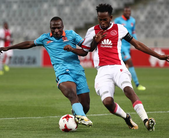 Rodney Ramagalela of Polokwane City challenged by Mosa Lebusa of Ajax Cape Town during the Absa Premiership 2017/18 football match between Ajax Cape Town and Polokwane City at Cape Town Stadium, Cape Town on 15 September 2017 ©Chris Ricco/BackpagePix