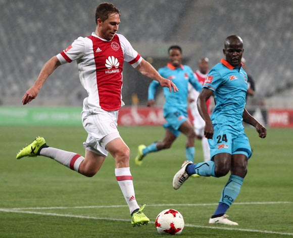 Rheece Evans of Ajax Cape Town evades challenge from Simphiwe Hlongwane of Polokwane City during the Absa Premiership 2017/18 football match between Ajax Cape Town and Polokwane City at Cape Town Stadium, Cape Town on 15 September 2017 ©Chris Ricco/BackpagePix