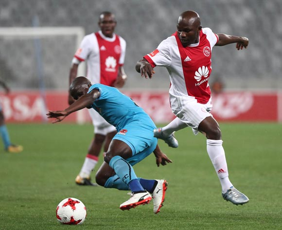 Ejike Uzoenyi of Ajax Cape Town tackled by Simphiwe Hlongwane of Polokwane City during the Absa Premiership 2017/18 football match between Ajax Cape Town and Polokwane City at Cape Town Stadium, Cape Town on 15 September 2017 ©Chris Ricco/BackpagePix