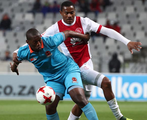 Walter Maponyane of Polokwane City challenged by Prince Nxumalo of Ajax Cape Town during the Absa Premiership 2017/18 football match between Ajax Cape Town and Polokwane City at Cape Town Stadium, Cape Town on 15 September 2017 ©Chris Ricco/BackpagePix
