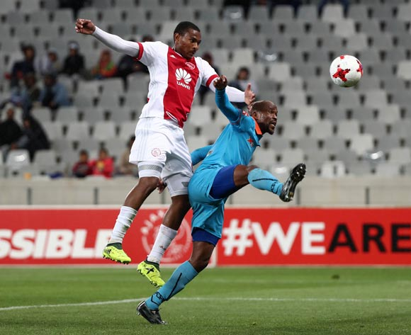 Prince Nxumalo of Ajax Cape Town battles for the ball with Sibusiso Mbonani of Polokwane City scores goal during the Absa Premiership 2017/18 football match between Ajax Cape Town and Polokwane City at Cape Town Stadium, Cape Town on 15 September 2017 ©Chris Ricco/BackpagePix
