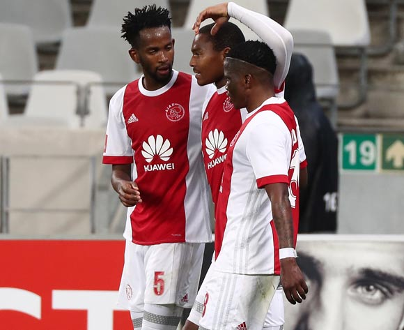 Prince Nxumalo of Ajax Cape Town celebrates goal with teammates Mosa Lebusa of Ajax Cape Town (l)  and Ndiviwe Mdabuka of Ajax Cape Town (r) during the Absa Premiership 2017/18 football match between Ajax Cape Town and Polokwane City at Cape Town Stadium, Cape Town on 15 September 2017 ©Chris Ricco/BackpagePix