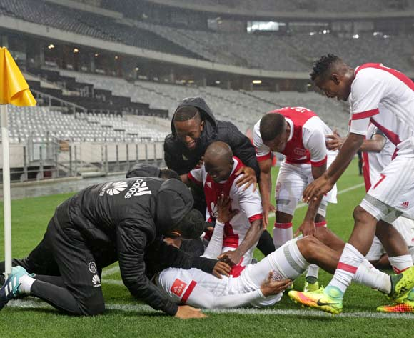 Prince Nxumalo of Ajax Cape Town celebrates goal with teammates during the Absa Premiership 2017/18 football match between Ajax Cape Town and Polokwane City at Cape Town Stadium, Cape Town on 15 September 2017 ©Chris Ricco/BackpagePix