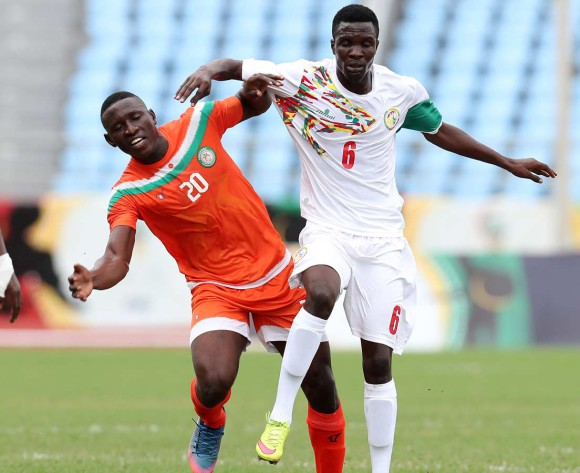 Elimane Oumar of Senegal challenged by Hainikoye Soumana Boubacar of Niger during 2017 WAFU Cup of Nations match between Senegal and Niger at Cape Coast Sports Stadium in Cape Coast, Ghana on 15 September 2017 ©Muzi Ntombela/BackpagePix