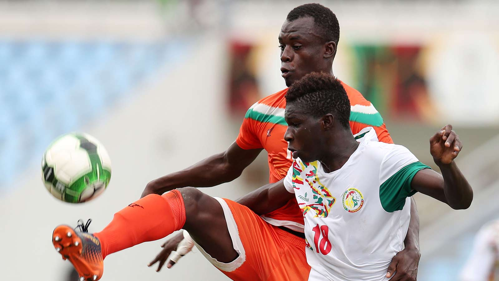 Amadou Dia Ndiaye of Senegal shields ball from Abdoulaye Katkore Boureima of Niger during 2017 WAFU Cup of Nations match between Senegal and Niger at Cape Coast Sports Stadium in Cape Coast, Ghana on 15 September 2017 ©Muzi Ntombela/BackpagePix