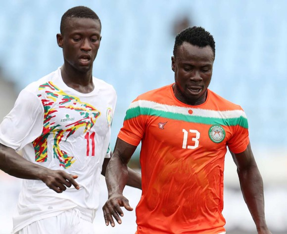 Soumana Amadou Moussa of Niger challenged by Daouda Gueye Dieme of Senegal during 2017 WAFU Cup of Nations match between Senegal and Niger at Cape Coast Sports Stadium in Cape Coast, Ghana on 15 September 2017 ©Muzi Ntombela/BackpagePix