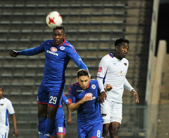 Morgan Gould and Dean Furman of Supersport United challenges Moeketsi Sekola of Chippa United during 2017/18 Absa Premiership game between Supersport United and Chippa United at Lucas Moripe Stadium on 19 September 2017@Aubrey Kgakatsi/BackpagePix