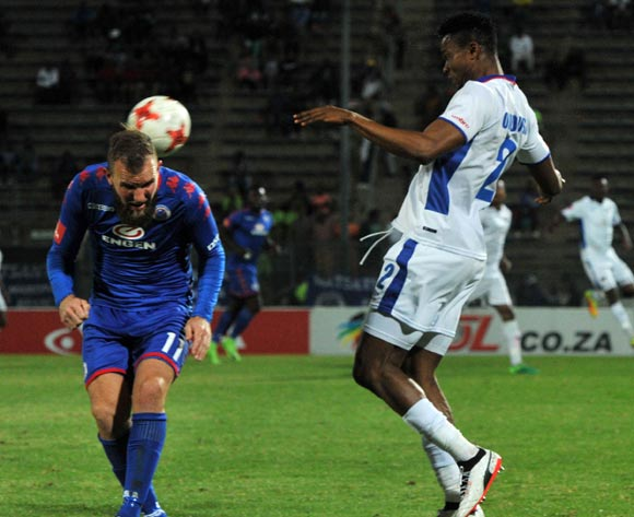 Jeremy Brockie of Supersport United challenged by James Okwuosa of Chippa United during 2017/18 Absa Premiership game between Supersport United and Chippa United at Lucas Moripe Stadium on 19 September 2017@Aubrey Kgakatsi/BackpagePix