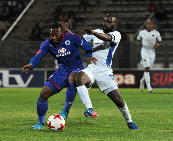 Thuso Phala of Supersport United challenged by Sandile Zuke of Chippa United during 2017/18 Absa Premiership game between Supersport United and Chippa United at Lucas Moripe Stadium on 19 September 2017@Aubrey Kgakatsi/BackpagePix