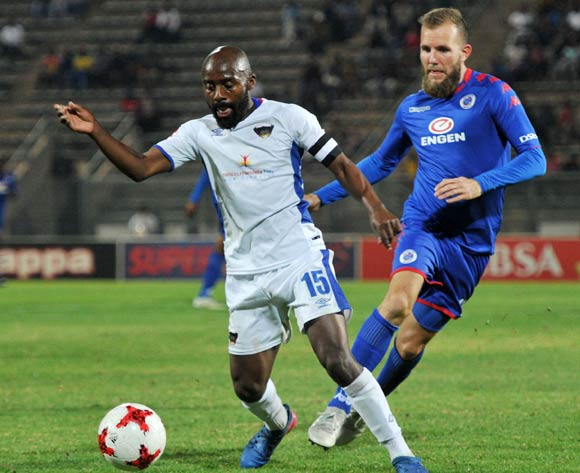 Jeremy Brockie of Supersport United challenged by Sandile Zuke of Chippa United during 2017/18 Absa Premiership game between Supersport United and Chippa United at Lucas Moripe Stadium on 19 September 2017@Aubrey Kgakatsi/BackpagePix