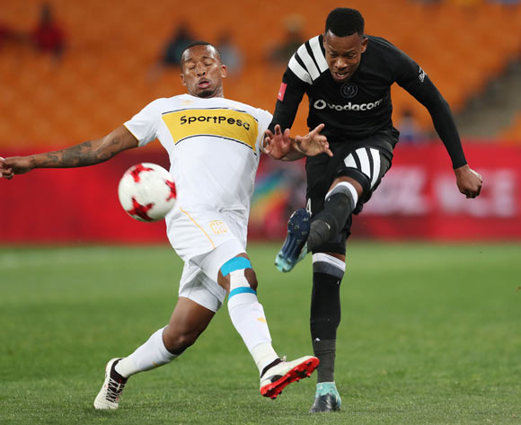 Happy Jele of Orlando Pirates clears ball from Lehlohonolo Majoro of Cape Town City  during the 2017/18 Absa Premiership football match between Orlando Pirates and Cape Town City at Soccer City, Johannesburg on 19 September 2017 ©Gavin Barker/BackpagePix
