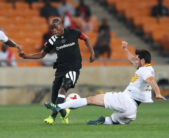 Roland Putsche of Cape Town City tackles Thabo Matlaba of Orlando Pirates during the 2017/18 Absa Premiership football match between Orlando Pirates and Cape Town City at Soccer City, Johannesburg on 19 September 2017 ©Gavin Barker/BackpagePix