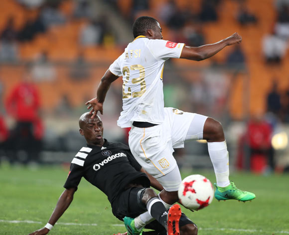 Musa Nyatama of Orlando Pirates tackles Mpho Matsi of Cape Town City during the 2017/18 Absa Premiership football match between Orlando Pirates and Cape Town City at Soccer City, Johannesburg on 19 September 2017 ©Gavin Barker/BackpagePix